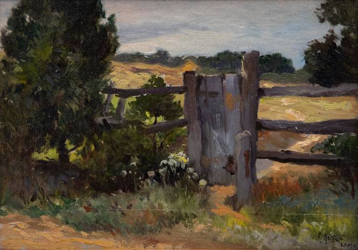 Landscape painting of a split-rail fence in Old Lyme, MI.